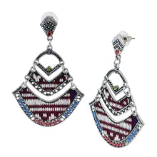 Load image into Gallery viewer, Bohemian Beaded Woven Fabric Maroon Earrings