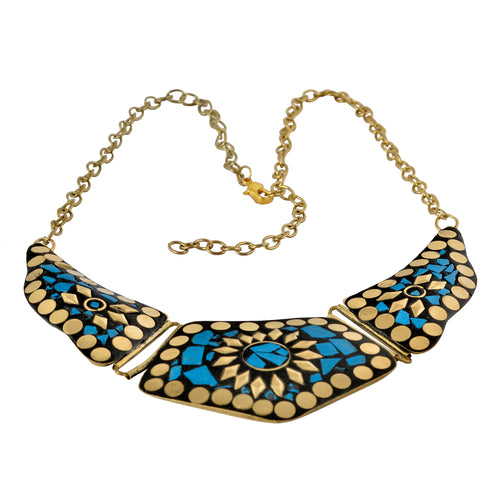 Blue Mosaic Costume Jewelry Statement Necklace For Women