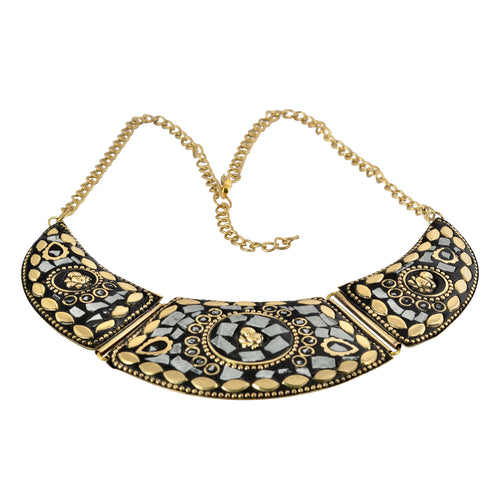 Artisan India White Mosaic Statement Necklace