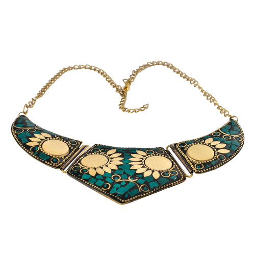 Green Mosaic Statement Necklace