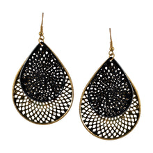 Load image into Gallery viewer, Teardrop Dangle Black Fashion Earrings