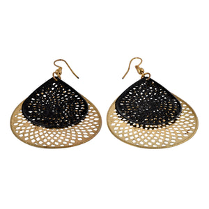 Teardrop Dangle Black Fashion Earrings