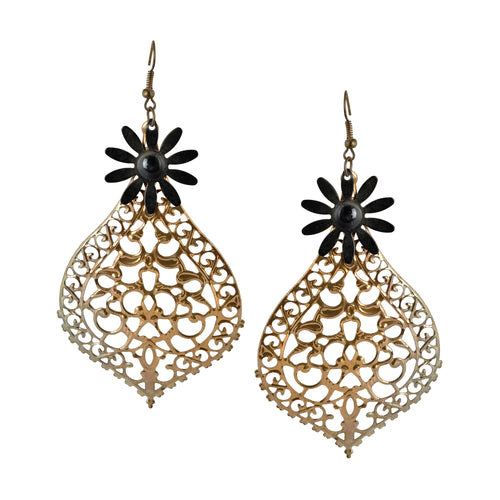 Cutout Teardrop Flower Dangle Vintage Women Earrings