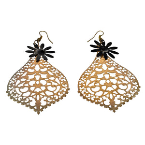 Cutout Teardrop Flower Dangle Earrings