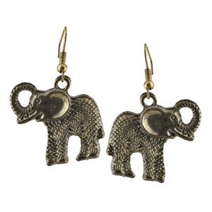 Golden Elephant Dangle Boho Earrings