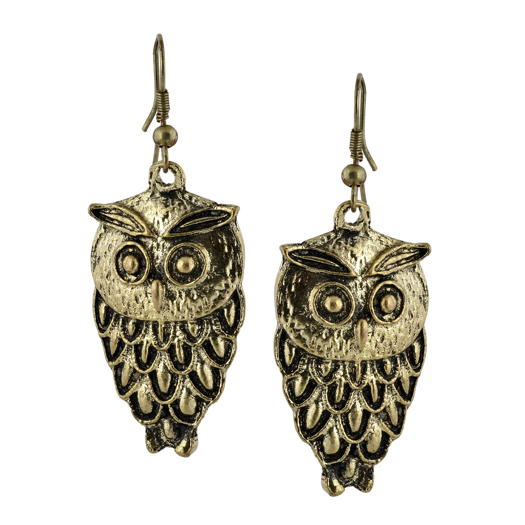 Golden Owl Dangle Boho Earrings