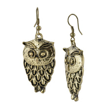 Load image into Gallery viewer, Golden Owl Dangle Boho Earrings