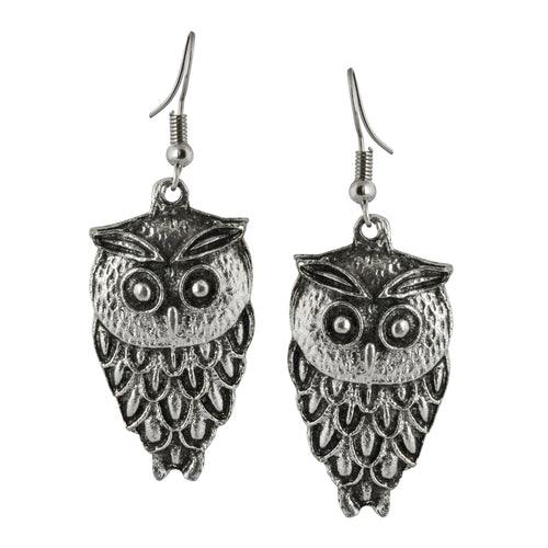 Silver Owl Dangle Boho Earrings For Women