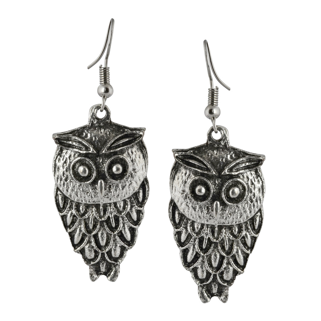 Silver Owl Dangle Boho Earrings