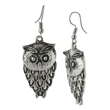 Load image into Gallery viewer, Silver Owl Dangle Boho Earrings