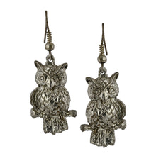 Load image into Gallery viewer, Boho Silver Owl Dangle Earrings