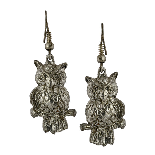 Boho Silver Owl Dangle Earrings For Women