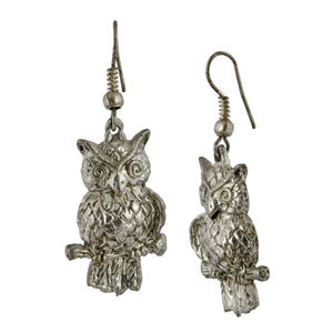 Boho Silver Owl Dangle Earrings