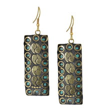 Load image into Gallery viewer, Golden Mosaic Indian Dangle Earrings