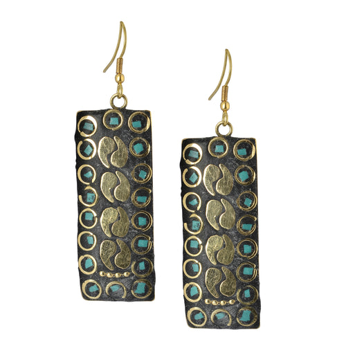Golden Mosaic Indian Dangle Earrings For Women