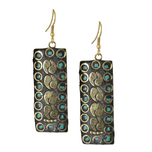 Golden Mosaic Indian Dangle Earrings