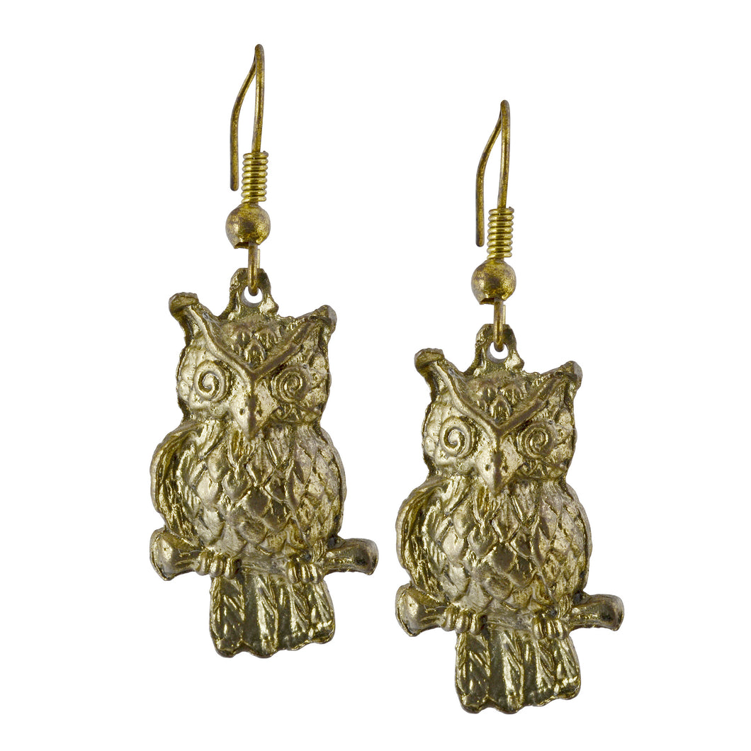 Boho Golden Owl Dangle Earrings