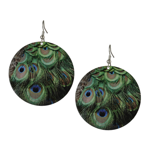 Circular Peacock Feather Drop Boho Women Earrings