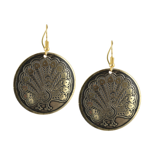 Circular Etched Peacock Metal Earrings