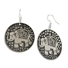 Load image into Gallery viewer, Circular Etched Silvery Elephant Earrings