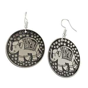 Circular Etched Silvery Elephant Earrings