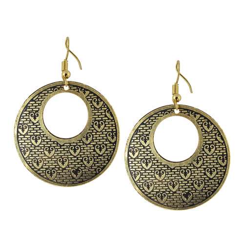 Golden Circular Vintage Dangle Earrings For Women