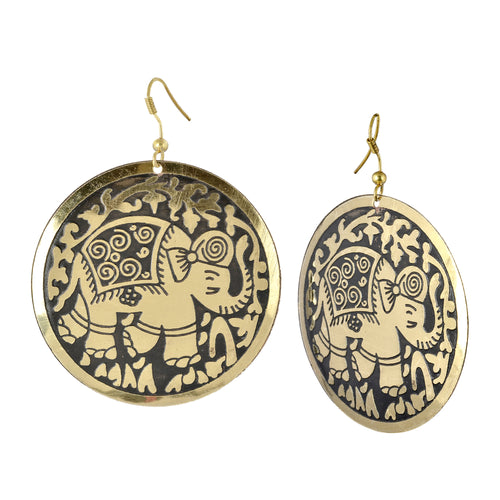Golden Statement Elephant Boho Earrings For Women
