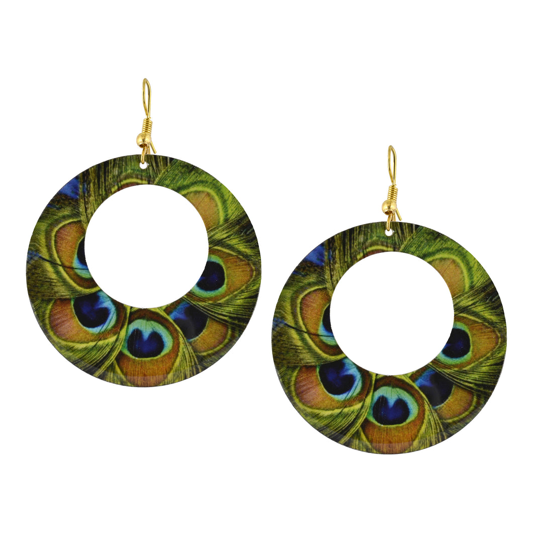 Boho Hoop Peacock Feather Earrings For Women
