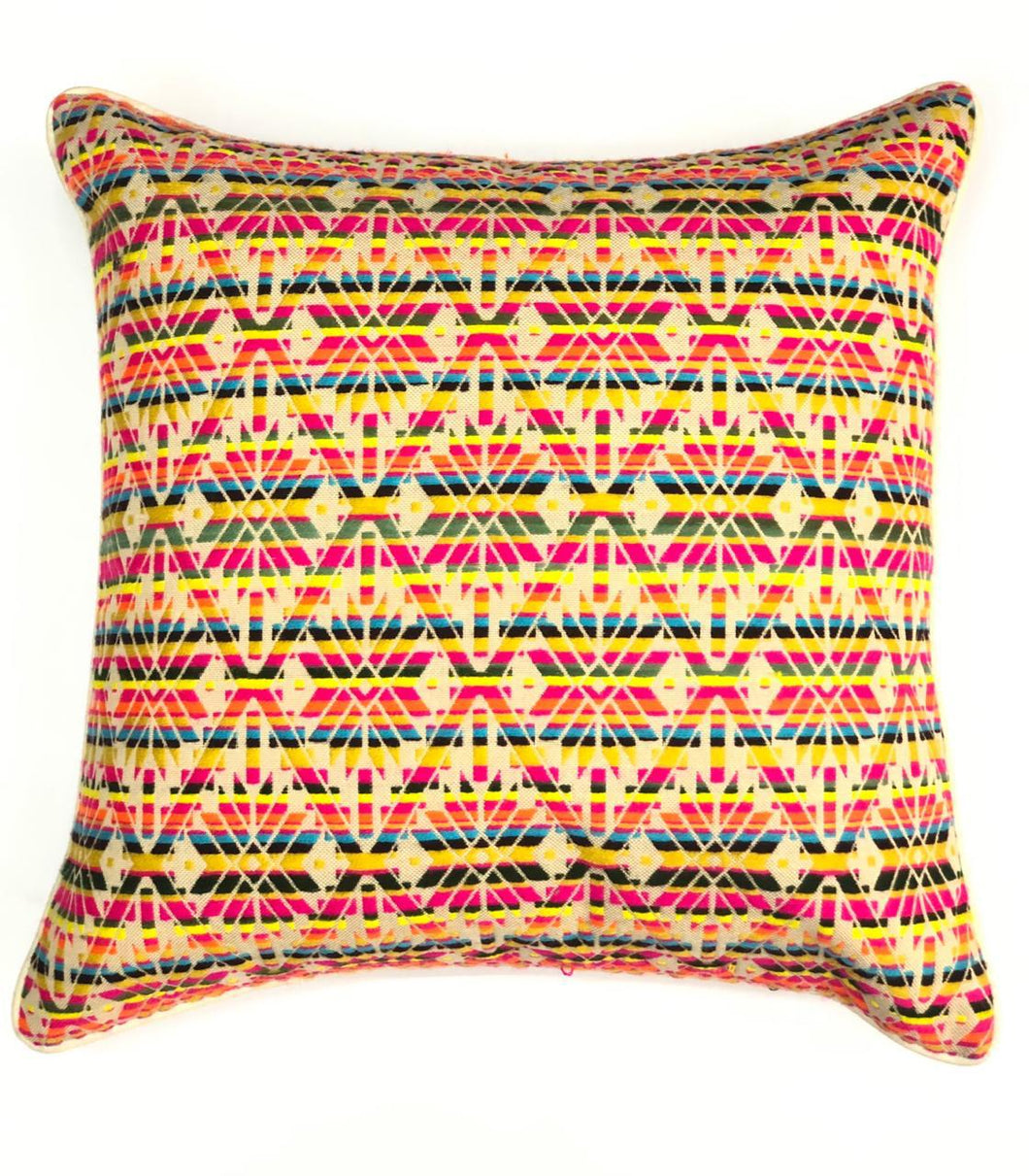 Neon Yellow And Orange Geo Woven Throw Pillow Cover