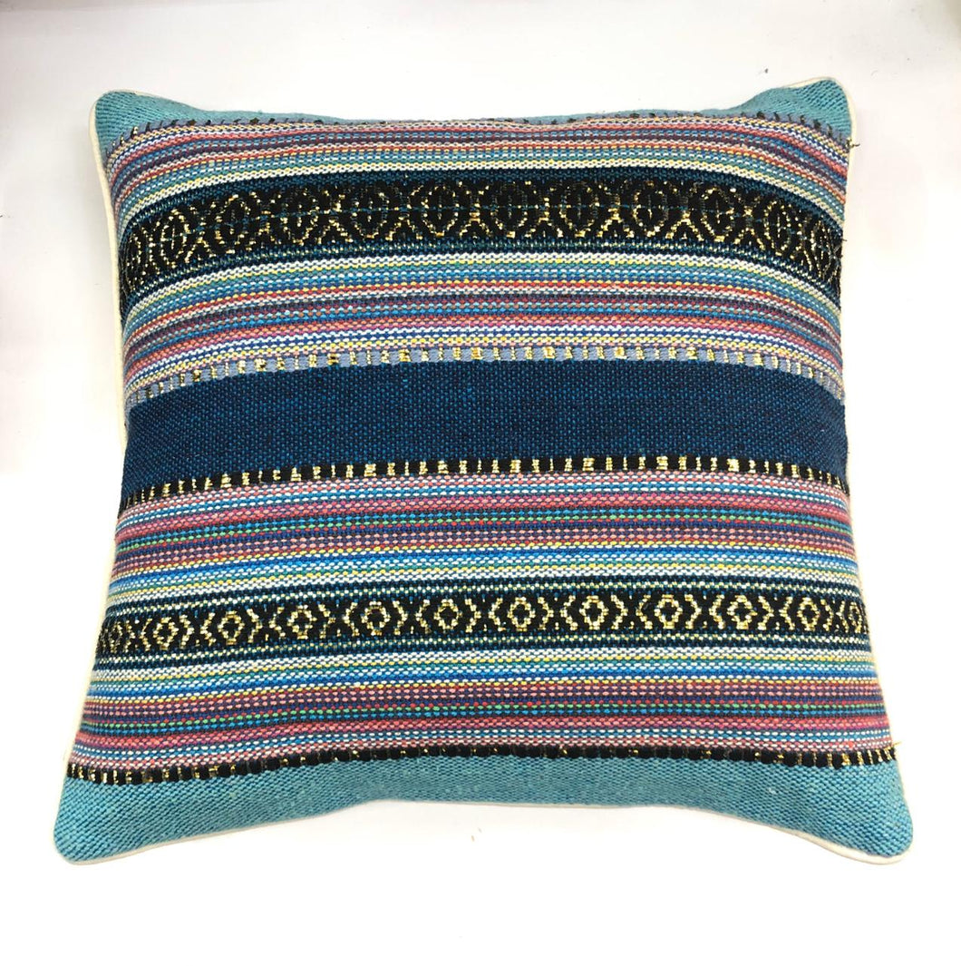 Blue Multicolor Striped Woven Throw Pillow Cover