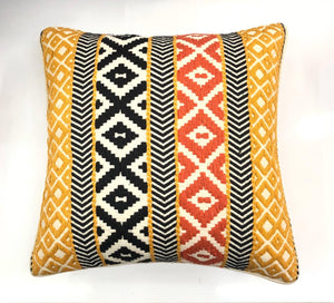 Decorative Yellow Multicolor Nova Woven Throw Pillow Cover