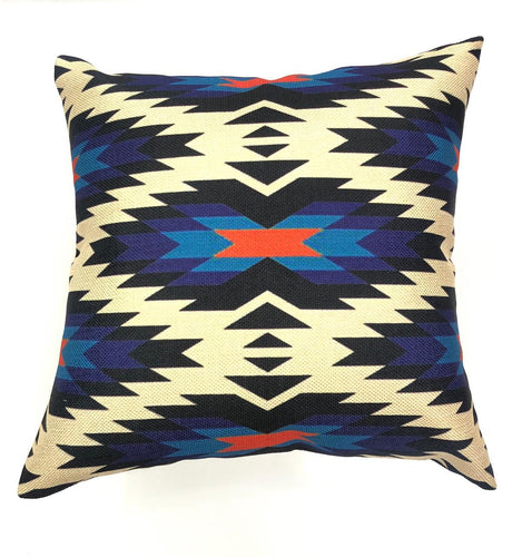 Khaki & Blue Geo Aztec Throw Pillow Cover