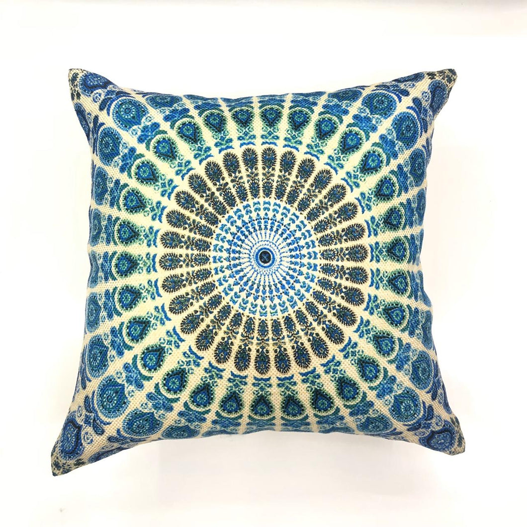 Light Blue Mandala Print Throw Pillow Cover
