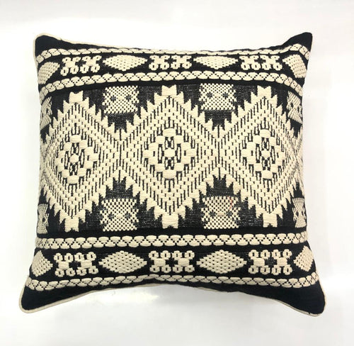 Black & White Diamond Woven Throw Pillow Cover