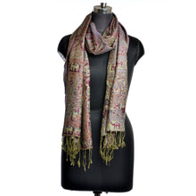 Load image into Gallery viewer, Elephant & Camel Print Maroon/Green Scarf