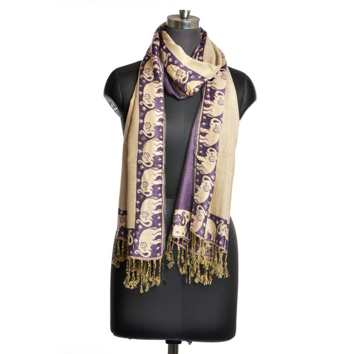 Dark Purple Indian Elephant Scarf