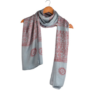 Varanasi Om Block Print Light Blue Scarf