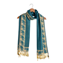 Load image into Gallery viewer, Elephant Print Scarf For Women - Blue/Cream