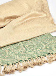 Cream/Green Scarf