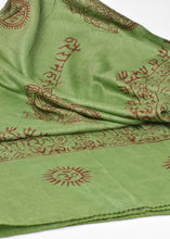 Load image into Gallery viewer, Varanasi Om Block Print Green Scarf