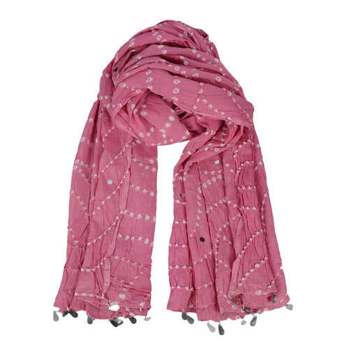 Bandhani Pink Scarf For Women