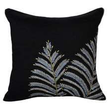 Load image into Gallery viewer, Black Embroidered Leaf Decorative Throw Pillow Cover