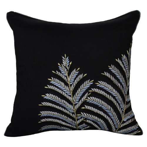 Black Embroidered Leaf Decorative Throw Pillow Covers