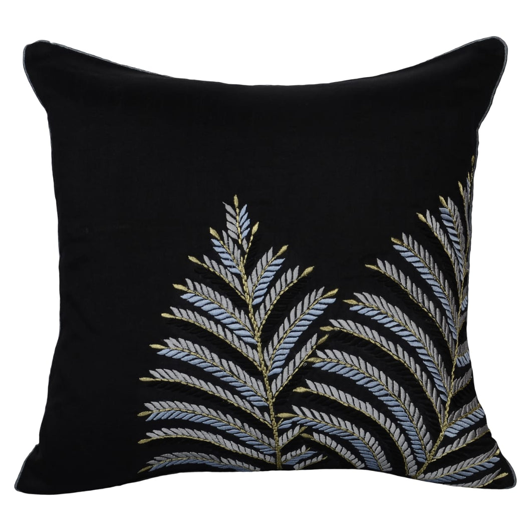Black Embroidered Leaf Decorative Throw Pillow Cover