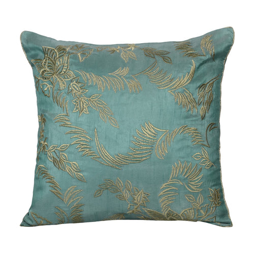 Embroidered Leaves Square Throw Pillow Cover