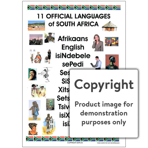 11 Official Languages Of South Africa Wall Charts And Posters