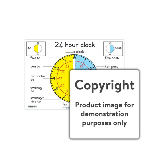 24 Hour Clock: A4 Wall Charts And Posters