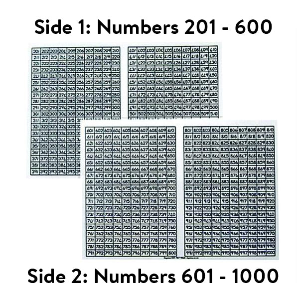 Number Chart: 201 - 600 and 601 - 1000 (A4 size)