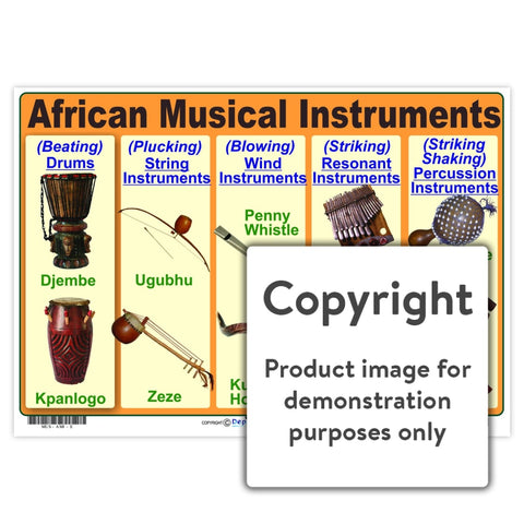 African Musical Instruments Wall Charts And Posters