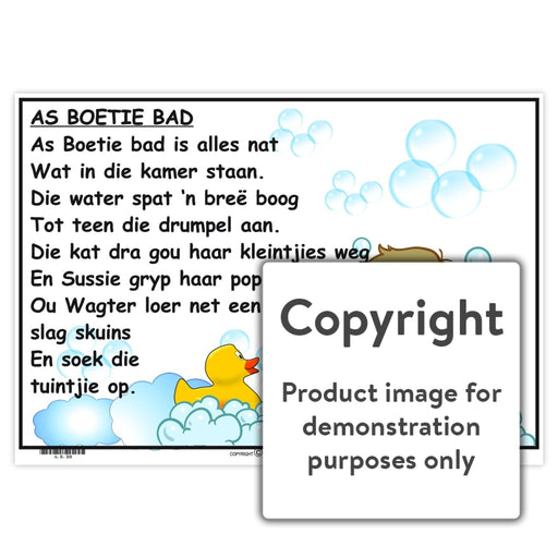 Afrikaanse Rympies: As Boetie Bad Wall Charts And Posters